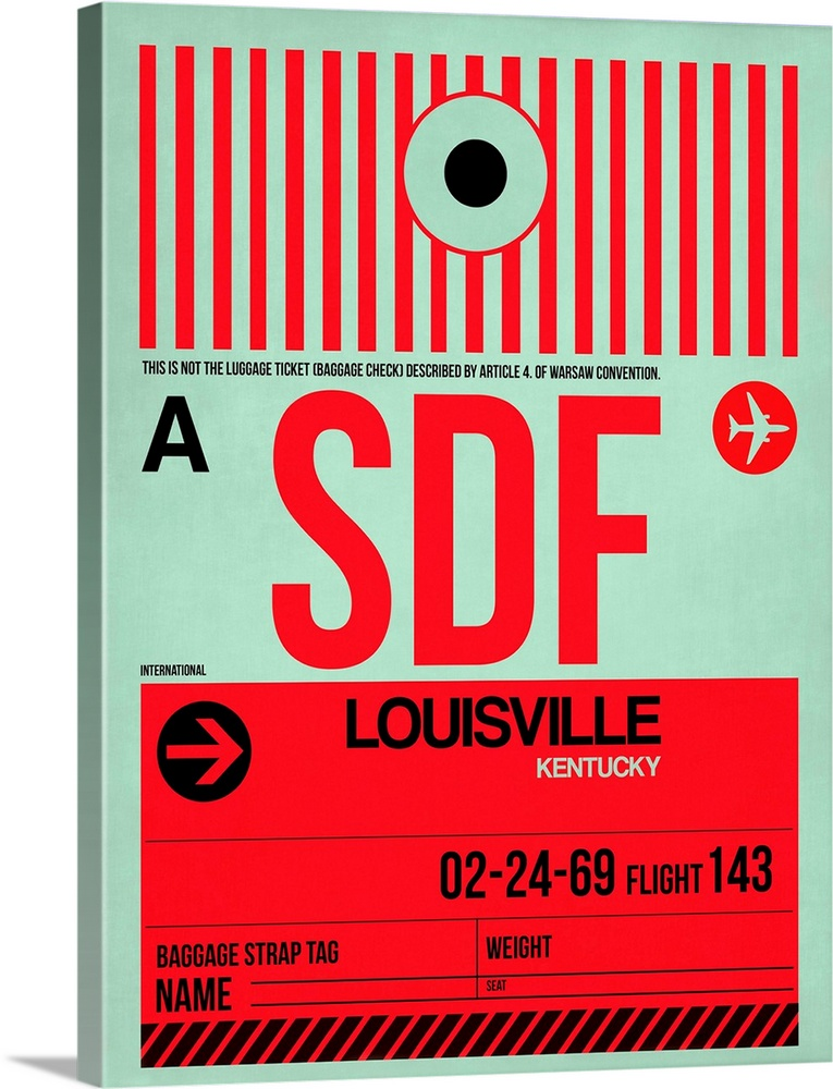 Large Solid-Faced Canvas Print Wall Art Print 30 x 40 entitled SDF Louisville Luggage Tag II Solid-Faced Canvas Print entitled SDF Louisville Luggage Tag II.  Multiple sizes available.  Primary colors within this image include Red, Dark Red, Black, Silver.  Made in USA.  All products come with a 365 day workmanship guarantee.  Inks used are latex-based and designed to last.  Canvas depth is 1.25 and includes a finished backing with pre-installed hanging hardware.  Archival inks prevent fading and preserve as much fine detail as possible with no over-saturation or color shifting.