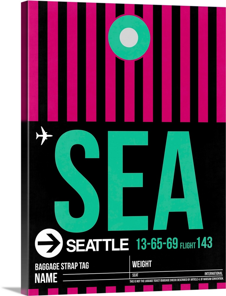 Large Solid-Faced Canvas Print Wall Art Print 30 x 40 entitled SEA Seattle Luggage Tag II Solid-Faced Canvas Print entitled SEA Seattle Luggage Tag II.  Multiple sizes available.  Primary colors within this image include Fuschia, Light Green, Black, Gray.  Made in the USA.  All products come with a 365 day workmanship guarantee.  Archival-quality UV-resistant inks.  Archival inks prevent fading and preserve as much fine detail as possible with no over-saturation or color shifting.  Featuring a proprietary design, our canvases produce the tightest corners without any bubbles, ripples, or bumps and will not warp or sag over time.