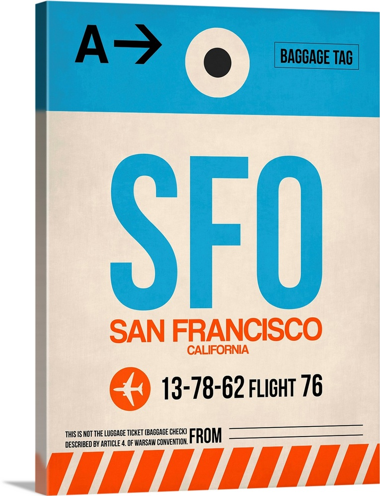 Large Solid-Faced Canvas Print Wall Art Print 30 x 40 entitled SFO San Francisco Luggage Tag I Solid-Faced Canvas Print entitled SFO San Francisco Luggage Tag I.  Multiple sizes available.  Primary colors within this image include Red, Black, White, Teal.  Made in USA.  All products come with a 365 day workmanship guarantee.  Archival-quality UV-resistant inks.  Featuring a proprietary design, our canvases produce the tightest corners without any bubbles, ripples, or bumps and will not warp or sag over time.  Canvas depth is 1.25 and includes a finished backing with pre-installed hanging hardware.
