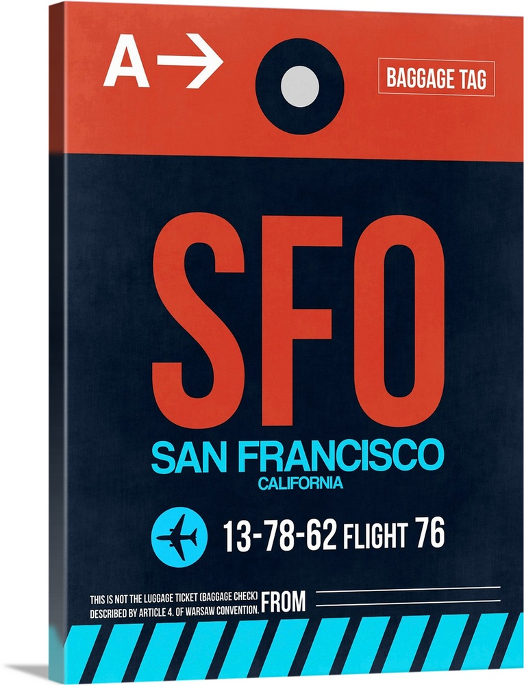 Large Solid-Faced Canvas Print Wall Art Print 30 x 40 entitled SFO San Francisco Luggage Tag II Solid-Faced Canvas Print entitled SFO San Francisco Luggage Tag II.  Multiple sizes available.  Primary colors within this image include Dark Red, White, Teal, Dark Navy Blue.  Made in USA.  All products come with a 365 day workmanship guarantee.  Inks used are latex-based and designed to last.  Canvas is handcrafted and made-to-order in the United States using high quality artist-grade canvas.  Featuring a proprietary design, our canvases produce the tightest corners without any bubbles, ripples, or bumps and will not warp or sag over time.