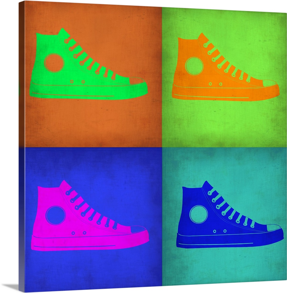 Large Solid-Faced Canvas Print Wall Art Print 20 x 20 entitled Shoe Pop Art I Solid-Faced Canvas Print entitled Shoe Pop Art I.  Multiple sizes available.  Primary colors within this image include Green, Blue, Purple, Brown.  Made in the USA.  Satisfaction guaranteed.  Archival-quality UV-resistant inks.  Featuring a proprietary design, our canvases produce the tightest corners without any bubbles, ripples, or bumps and will not warp or sag over time.  Canvas depth is 1.25 and includes a finished backing with pre-installed hanging hardware.