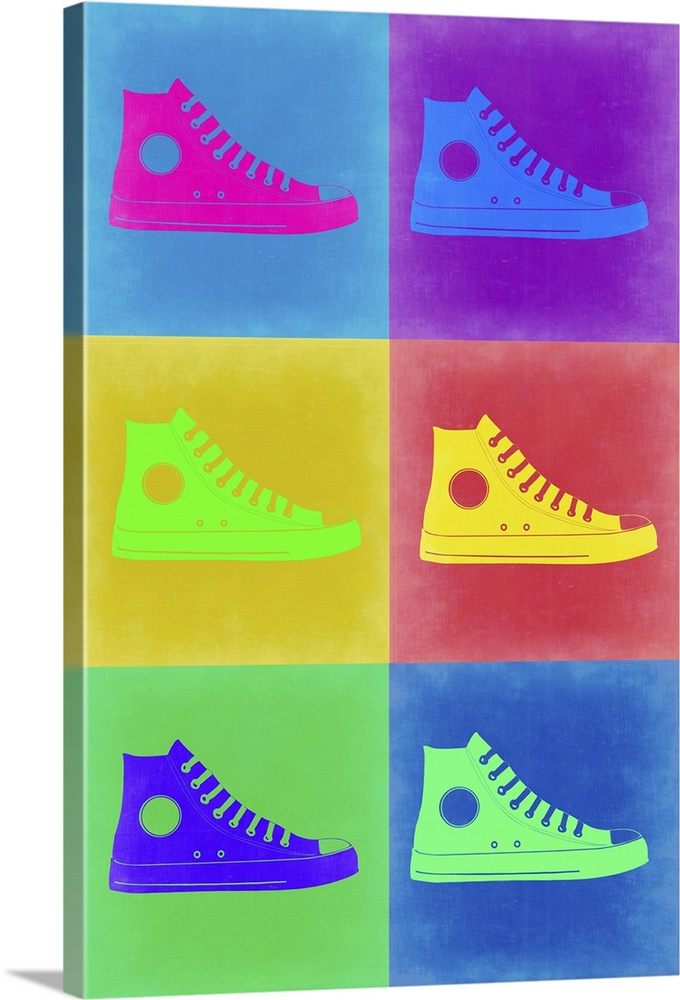 Large Solid-Faced Canvas Print Wall Art Print 20 x 30 entitled Shoe Pop Art II Solid-Faced Canvas Print entitled Shoe Pop Art II.  Multiple sizes available.  Primary colors within this image include Yellow, Purple, Light Green, Royal Blue.  Made in USA.  All products come with a 365 day workmanship guarantee.  Archival-quality UV-resistant inks.  Featuring a proprietary design, our canvases produce the tightest corners without any bubbles, ripples, or bumps and will not warp or sag over time.  Archival inks prevent fading and preserve as much fine detail as possible with no over-saturation or color shifting.