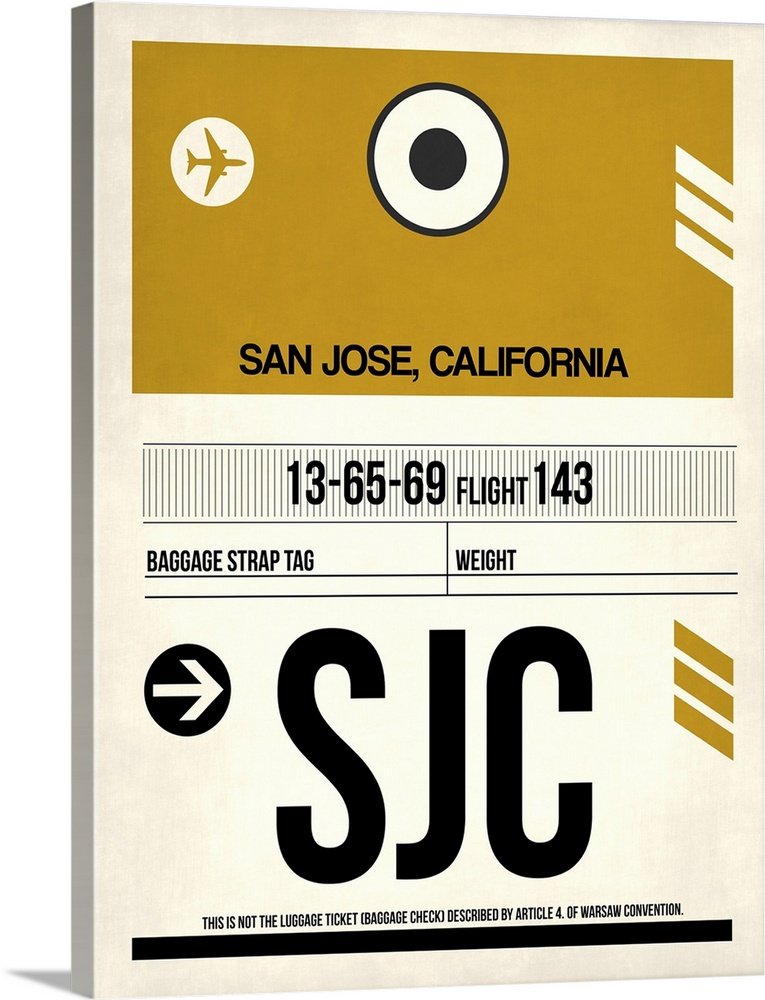 Large Solid-Faced Canvas Print Wall Art Print 30 x 40 entitled SJC San Jose Luggage Tag I Solid-Faced Canvas Print entitled SJC San Jose Luggage Tag I.  Multiple sizes available.  Primary colors within this image include Dark Yellow, Black, Gray, White.  Made in USA.  Satisfaction guaranteed.  Inks used are latex-based and designed to last.  Canvas is handcrafted and made-to-order in the United States using high quality artist-grade canvas.  Canvas depth is 1.25 and includes a finished backing with pre-installed hanging hardware.