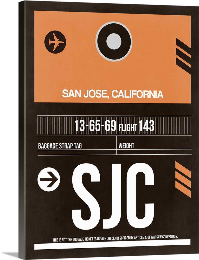 Large Solid-Faced Canvas Print Wall Art Print 30 x 40 entitled SJC San Jose Luggage Tag II Solid-Faced Canvas Print entitled SJC San Jose Luggage Tag II.  Multiple sizes available.  Primary colors within this image include Peach, Dark Gray, White.  Made in USA.  All products come with a 365 day workmanship guarantee.  Inks used are latex-based and designed to last.  Archival inks prevent fading and preserve as much fine detail as possible with no over-saturation or color shifting.  Canvas depth is 1.25 and includes a finished backing with pre-installed hanging hardware.