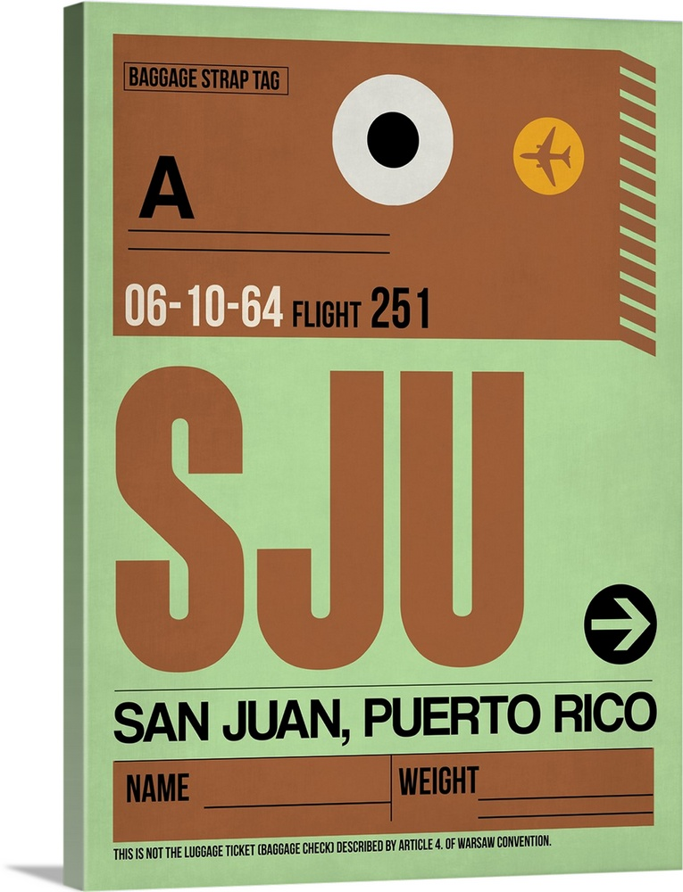 Large Solid-Faced Canvas Print Wall Art Print 30 x 40 entitled SJU San Juan Luggage Tag I Solid-Faced Canvas Print entitled SJU San Juan Luggage Tag I.  Multiple sizes available.  Primary colors within this image include Orange, Brown, Light Green, Black.  Made in the USA.  Satisfaction guaranteed.  Archival-quality UV-resistant inks.  Canvas depth is 1.25 and includes a finished backing with pre-installed hanging hardware.  Featuring a proprietary design, our canvases produce the tightest corners without any bubbles, ripples, or bumps and will not warp or sag over time.
