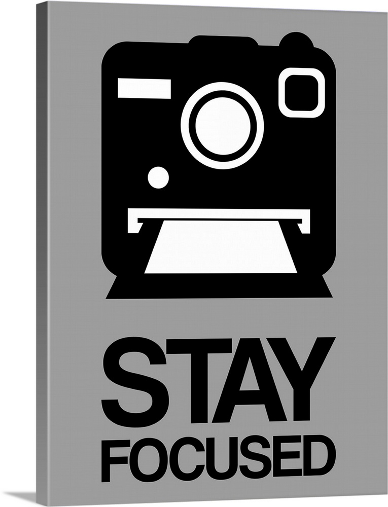 Large Solid-Faced Canvas Print Wall Art Print 30 x 40 entitled Stay Focused Polaroid Camera Poster I Solid-Faced Canvas Print entitled Stay Focused Polaroid Camera Poster I.  Multiple sizes available.  Primary colors within this image include Black, Light Gray.  Made in the USA.  Satisfaction guaranteed.  Archival-quality UV-resistant inks.  Archival inks prevent fading and preserve as much fine detail as possible with no over-saturation or color shifting.  Canvas depth is 1.25 and includes a finished backing with pre-installed hanging hardware.