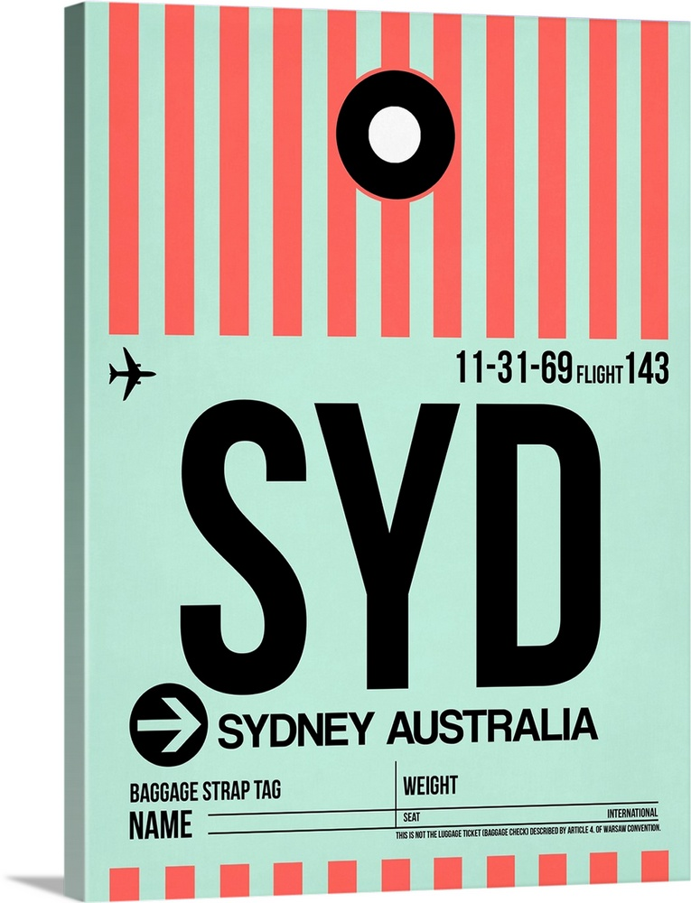 Large Solid-Faced Canvas Print Wall Art Print 30 x 40 entitled SYD Sydney Luggage Tag I Solid-Faced Canvas Print entitled SYD Sydney Luggage Tag I.  Multiple sizes available.  Primary colors within this image include Pink, Black, Gray, Silver.  Made in the USA.  Satisfaction guaranteed.  Inks used are latex-based and designed to last.  Featuring a proprietary design, our canvases produce the tightest corners without any bubbles, ripples, or bumps and will not warp or sag over time.  Archival inks prevent fading and preserve as much fine detail as possible with no over-saturation or color shifting.
