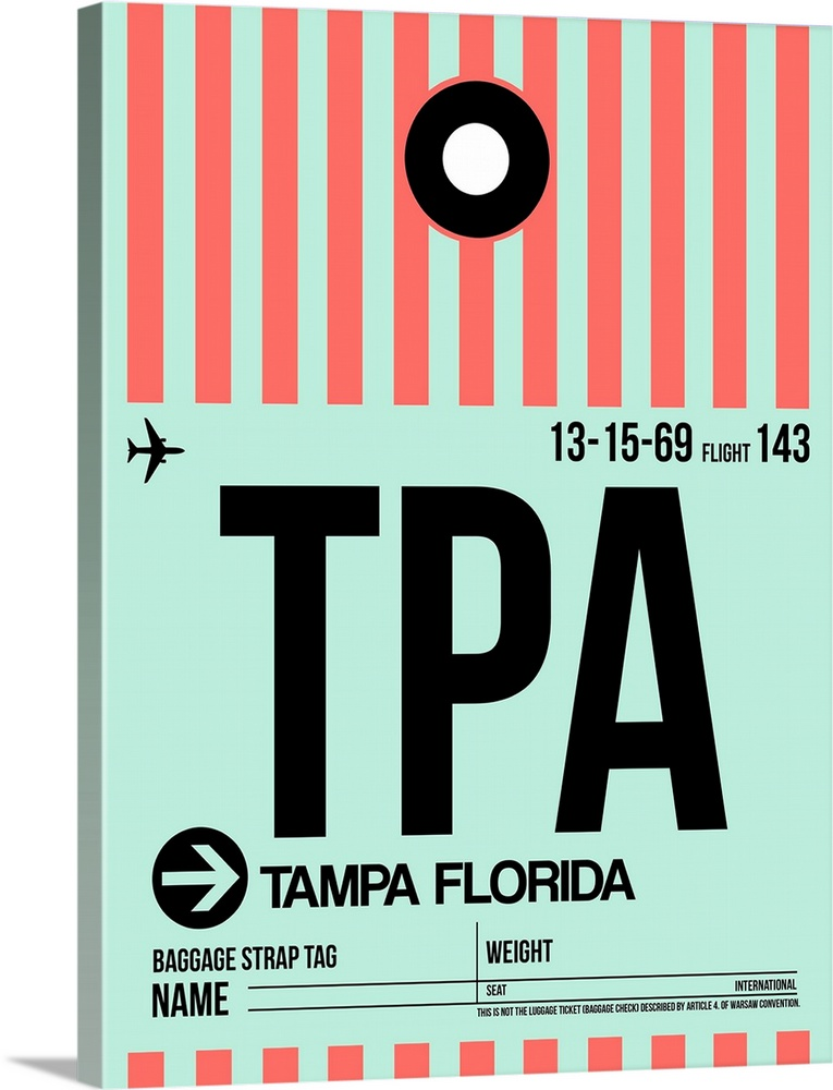 Large Solid-Faced Canvas Print Wall Art Print 30 x 40 entitled TPA Tampa Luggage Tag I Solid-Faced Canvas Print entitled TPA Tampa Luggage Tag I.  Multiple sizes available.  Primary colors within this image include Pink, Black, Gray, Silver.  Made in USA.  Satisfaction guaranteed.  Archival-quality UV-resistant inks.  Archival inks prevent fading and preserve as much fine detail as possible with no over-saturation or color shifting.  Canvas is handcrafted and made-to-order in the United States using high quality artist-grade canvas.