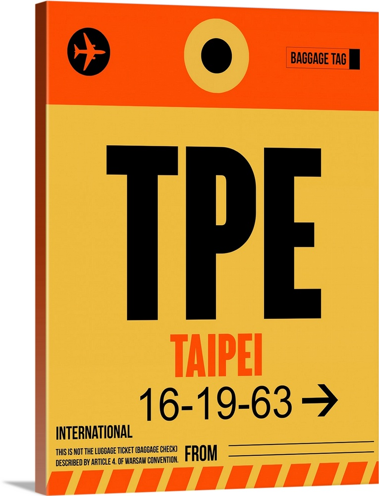 Large Solid-Faced Canvas Print Wall Art Print 30 x 40 entitled TPE Taipei Luggage Tag II Solid-Faced Canvas Print entitled TPE Taipei Luggage Tag II.  Multiple sizes available.  Primary colors within this image include Red, Dark Red, Light Yellow, Black.  Made in the USA.  Satisfaction guaranteed.  Archival-quality UV-resistant inks.  Canvas depth is 1.25 and includes a finished backing with pre-installed hanging hardware.  Archival inks prevent fading and preserve as much fine detail as possible with no over-saturation or color shifting.