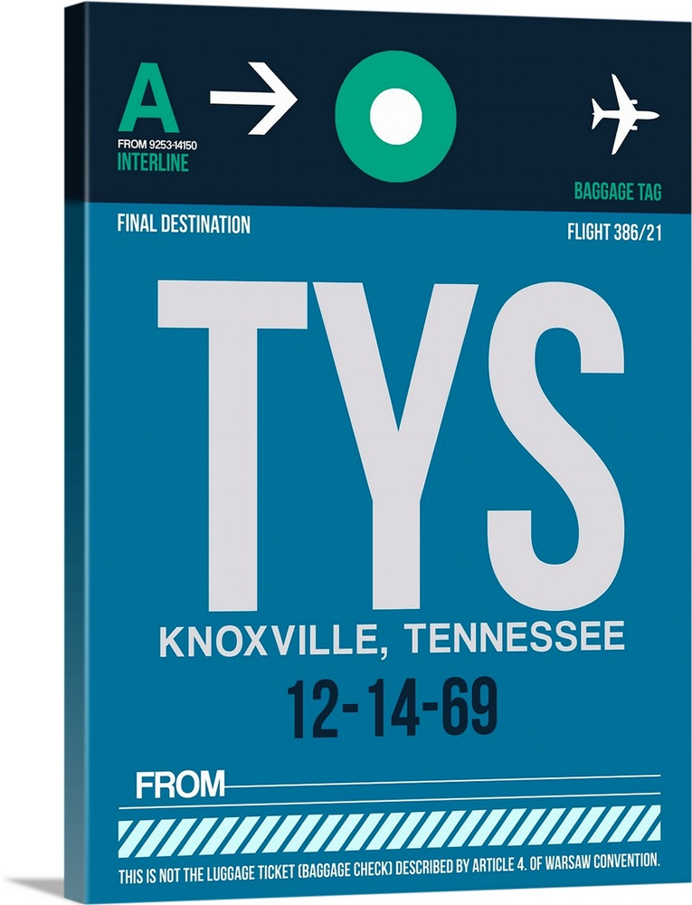 Large Solid-Faced Canvas Print Wall Art Print 30 x 40 entitled TYS Knoxville Luggage Tag II Solid-Faced Canvas Print entitled TYS Knoxville Luggage Tag II.  Multiple sizes available.  Primary colors within this image include White, Teal, Gray Blue, Dark Navy Blue.  Made in USA.  Satisfaction guaranteed.  Inks used are latex-based and designed to last.  Canvas is handcrafted and made-to-order in the United States using high quality artist-grade canvas.  Archival inks prevent fading and preserve as much fine detail as possible with no over-saturation or color shifting.