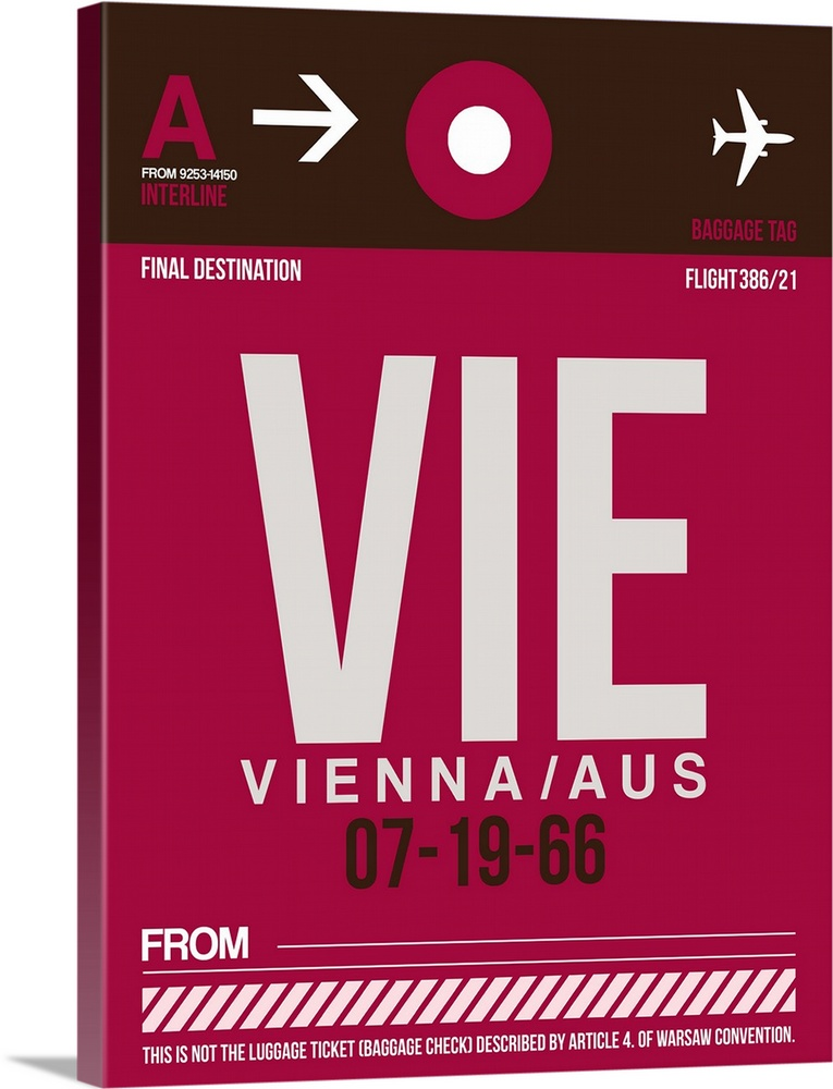 Large Solid-Faced Canvas Print Wall Art Print 30 x 40 entitled VIE Vienna Luggage Tag II Solid-Faced Canvas Print entitled VIE Vienna Luggage Tag II.  Multiple sizes available.  Primary colors within this image include Plum, Dark Gray, White.  Made in the USA.  Satisfaction guaranteed.  Archival-quality UV-resistant inks.  Canvas depth is 1.25 and includes a finished backing with pre-installed hanging hardware.  Featuring a proprietary design, our canvases produce the tightest corners without any bubbles, ripples, or bumps and will not warp or sag over time.