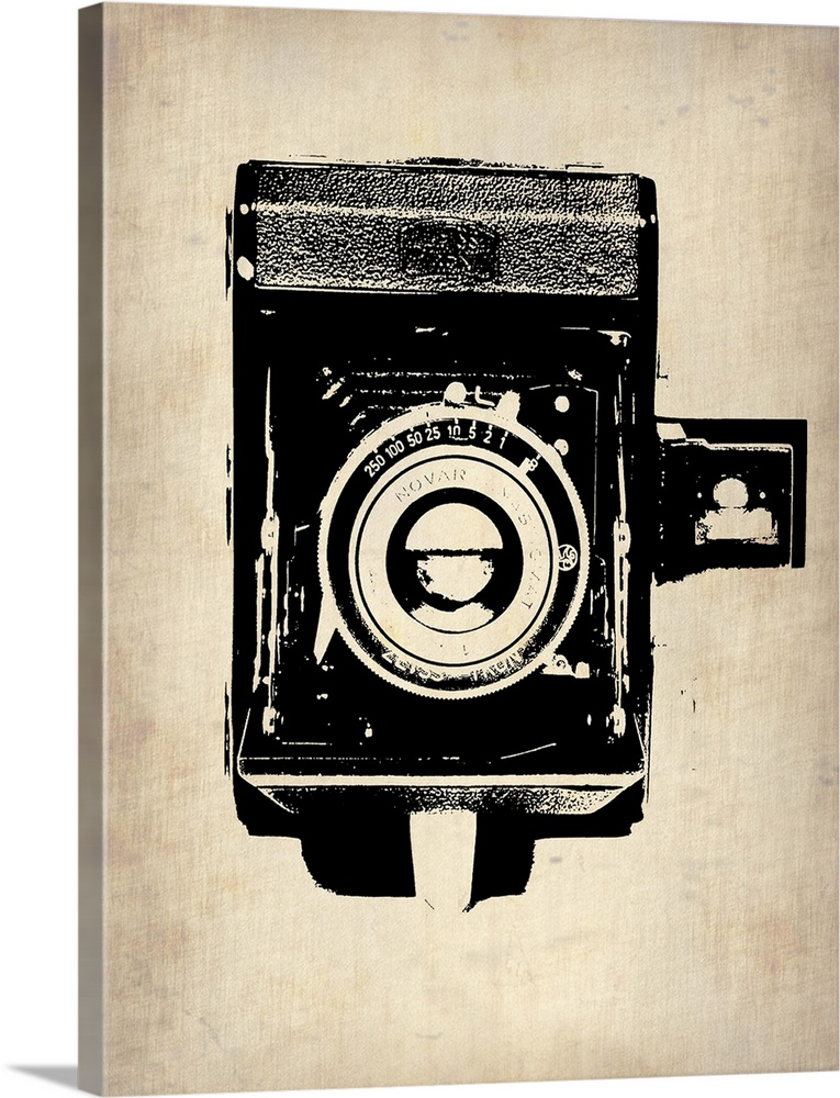 Large Gallery-Wrapped Canvas Wall Art Print 18 x 24 entitled Vintage Camera I Gallery-Wrapped Canvas entitled Vintage Camera I.  Multiple sizes available.  Primary colors within this image include Black Gray White.  Made in the USA.  Satisfaction guaranteed.  Archival-quality UV-resistant inks.  Canvas is designed to prevent fading.  Canvas is a 65 polyester 35 cotton base with two acrylic latex primer basecoats and a semi-gloss inkjet receptive topcoat.