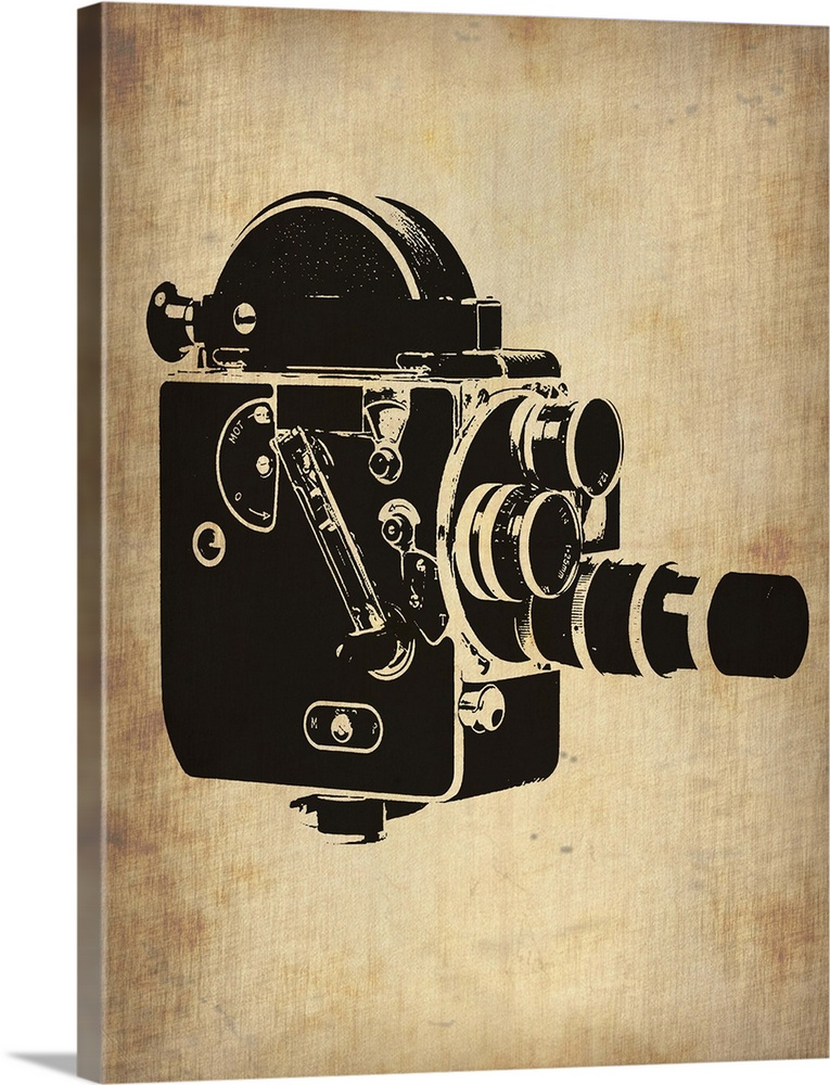 Large Gallery-Wrapped Canvas Wall Art Print 18 x 24 entitled Vintage Camera III Gallery-Wrapped Canvas entitled Vintage Camera III.  Multiple sizes available.  Primary colors within this image include Peach Black Gray.  Made in the USA.  Satisfaction guaranteed.  Archival-quality UV-resistant inks.  Canvas frames are built with farmed or reclaimed domestic pine or poplar wood.  Canvas is designed to prevent fading.