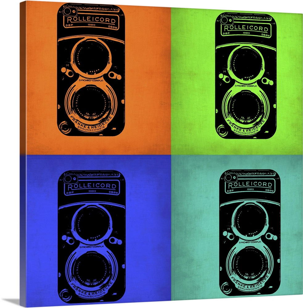 Large Solid-Faced Canvas Print Wall Art Print 20 x 20 entitled Vintage Camera Pop Art I Solid-Faced Canvas Print entitled Vintage Camera Pop Art I.  Multiple sizes available.  Primary colors within this image include Orange, Blue, Dark Blue, Black.  Made in the USA.  Satisfaction guaranteed.  Archival-quality UV-resistant inks.  Archival inks prevent fading and preserve as much fine detail as possible with no over-saturation or color shifting.  Featuring a proprietary design, our canvases produce the tightest corners without any bubbles, ripples, or bumps and will not warp or sag over time.