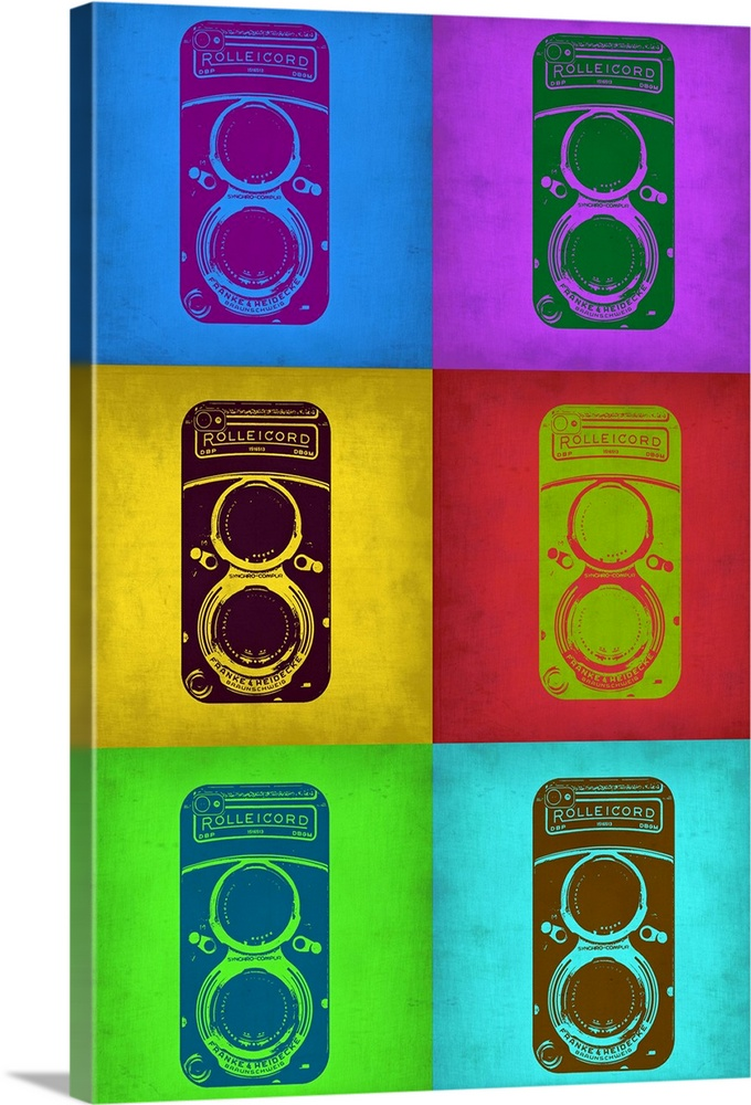 Large Solid-Faced Canvas Print Wall Art Print 20 x 30 entitled Vintage Camera Pop Art II Solid-Faced Canvas Print entitled Vintage Camera Pop Art II.  Multiple sizes available.  Primary colors within this image include Green, Brown, Forest Green, Royal Blue.  Made in USA.  Satisfaction guaranteed.  Archival-quality UV-resistant inks.  Canvas is handcrafted and made-to-order in the United States using high quality artist-grade canvas.  Archival inks prevent fading and preserve as much fine detail as possible with no over-saturation or color shifting.