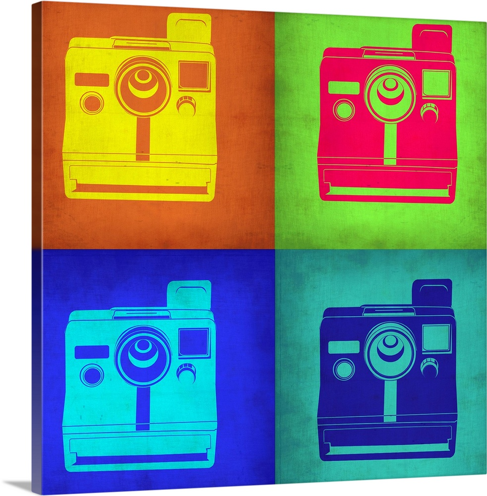 Large Solid-Faced Canvas Print Wall Art Print 20 x 20 entitled Vintage Polaroid Camera Pop Art I Solid-Faced Canvas Print entitled Vintage Polaroid Camera Pop Art I.  Multiple sizes available.  Primary colors within this image include Yellow, Fuschia, Brown, Teal.  Made in the USA.  All products come with a 365 day workmanship guarantee.  Archival-quality UV-resistant inks.  Featuring a proprietary design, our canvases produce the tightest corners without any bubbles, ripples, or bumps and will not warp or sag over time.  Archival inks prevent fading and preserve as much fine detail as possible with no over-saturation or color shifting.