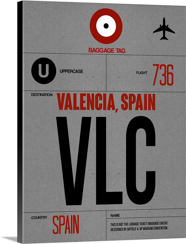 Large Solid-Faced Canvas Print Wall Art Print 30 x 40 entitled VLC Valencia Luggage Tag I Solid-Faced Canvas Print entitled VLC Valencia Luggage Tag I.  Multiple sizes available.  Primary colors within this image include Dark Red, Black, Light Gray, White.  Made in USA.  Satisfaction guaranteed.  Archival-quality UV-resistant inks.  Canvas depth is 1.25 and includes a finished backing with pre-installed hanging hardware.  Canvas is handcrafted and made-to-order in the United States using high quality artist-grade canvas.