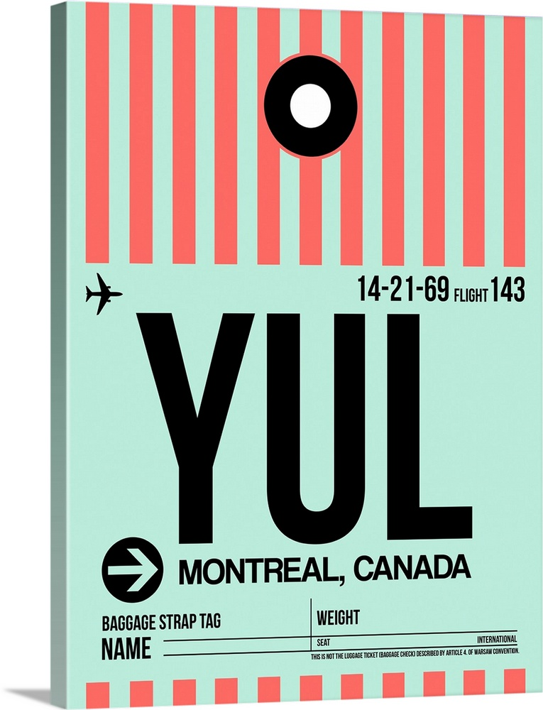 Large Solid-Faced Canvas Print Wall Art Print 30 x 40 entitled YUL Montreal Luggage Tag II Solid-Faced Canvas Print entitled YUL Montreal Luggage Tag II.  Multiple sizes available.  Primary colors within this image include Pink, Black, Gray, Silver.  Made in the USA.  Satisfaction guaranteed.  Archival-quality UV-resistant inks.  Featuring a proprietary design, our canvases produce the tightest corners without any bubbles, ripples, or bumps and will not warp or sag over time.  Canvas is handcrafted and made-to-order in the United States using high quality artist-grade canvas.
