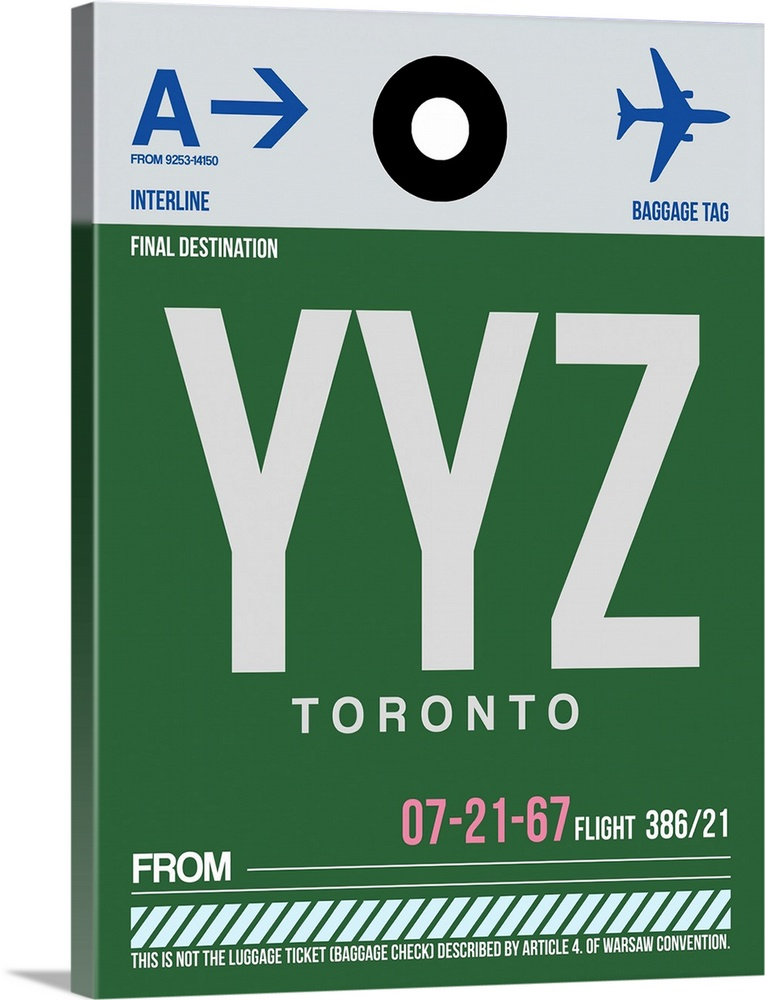 Large Solid-Faced Canvas Print Wall Art Print 30 x 40 entitled YYZ Toronto Luggage Tag I Solid-Faced Canvas Print entitled YYZ Toronto Luggage Tag I.  Multiple sizes available.  Primary colors within this image include Forest Green, Black, White, Muted Blue.  Made in USA.  All products come with a 365 day workmanship guarantee.  Inks used are latex-based and designed to last.  Canvas depth is 1.25 and includes a finished backing with pre-installed hanging hardware.  Featuring a proprietary design, our canvases produce the tightest corners without any bubbles, ripples, or bumps and will not warp or sag over time.