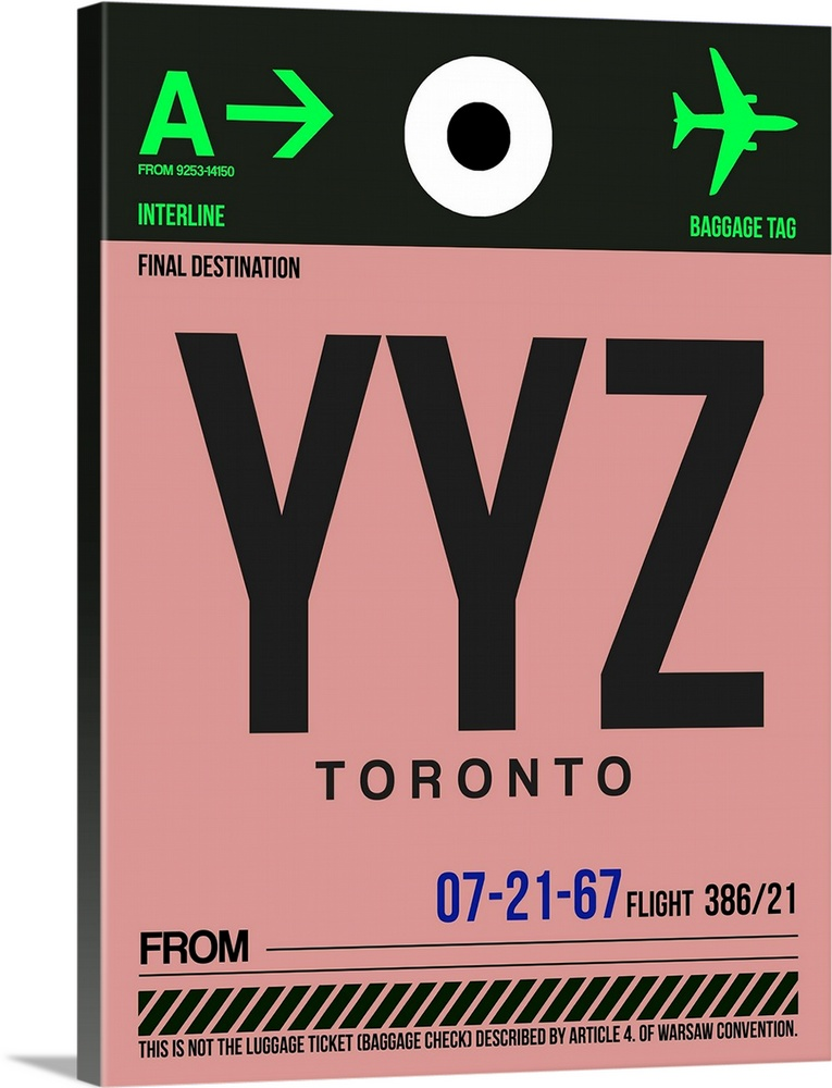 Large Solid-Faced Canvas Print Wall Art Print 30 x 40 entitled YYZ Toronto Luggage Tag II Solid-Faced Canvas Print entitled YYZ Toronto Luggage Tag II.  Multiple sizes available.  Primary colors within this image include Green, Dark Blue, Pink, Black.  Made in USA.  Satisfaction guaranteed.  Inks used are latex-based and designed to last.  Canvas depth is 1.25 and includes a finished backing with pre-installed hanging hardware.  Archival inks prevent fading and preserve as much fine detail as possible with no over-saturation or color shifting.