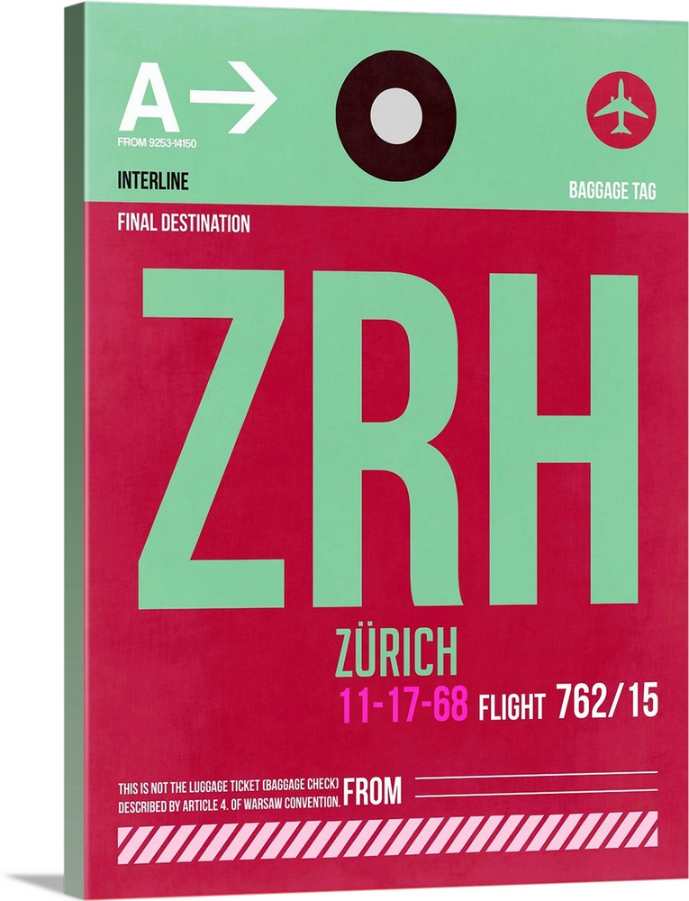 Large Solid-Faced Canvas Print Wall Art Print 30 x 40 entitled ZRH Zurich Luggage Tag II Solid-Faced Canvas Print entitled ZRH Zurich Luggage Tag II.  Multiple sizes available.  Primary colors within this image include Dark Red, Pink, Light Green, White.  Made in USA.  Satisfaction guaranteed.  Inks used are latex-based and designed to last.  Canvas is handcrafted and made-to-order in the United States using high quality artist-grade canvas.  Archival inks prevent fading and preserve as much fine detail as possible with no over-saturation or color shifting.