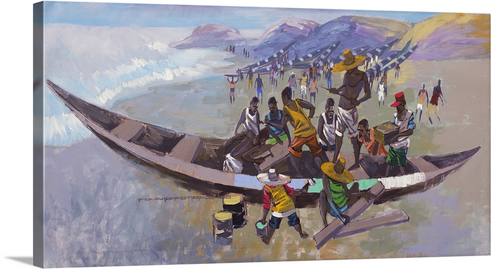 Large Gallery-Wrapped Canvas Wall Art Print 30 x 16 entitled Before the Journey II (2009) Gallery-Wrapped Canvas entitled Before the Journey II 2009.  The afternoon is filled with activity on Jamestown Beach in Accra. Fishermen mend nets and fix up their canoes in this dynamic painting by Folusho Akomolede. Among the Ga Adangbe fishing community Tuesdays are days considered sacred and thus no one is expected to go fishing. However they use thi...  Multiple sizes available.  Primary colors within this image include Brown Pink Dark Gray Light Gray.  Made in the USA.  All products come with a 365 day workmanship guarantee.  Archival-quality UV-resistant inks.  Canvases have a UVB protection built in to protect against fading and moisture and are designed to last for over 100 years.  Canvases are stretched across a 1.5 inch thick wooden frame with easy-to-mount hanging hardware.