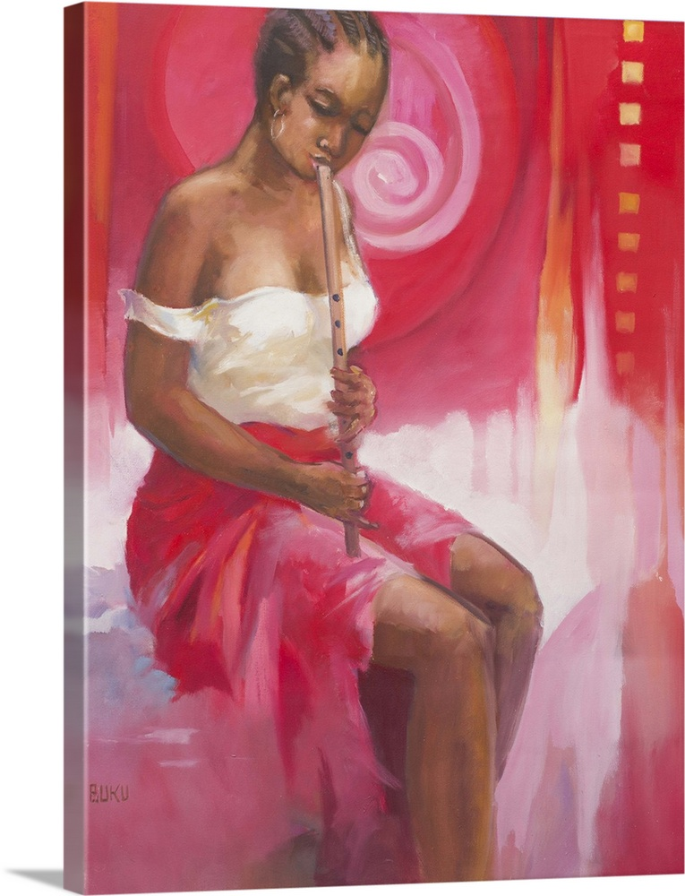 Large Gallery-Wrapped Canvas Wall Art Print 18 x 24 entitled Flutist II (2008) Gallery-Wrapped Canvas entitled Flutist II 2008.  Intent on her music a girl coaxes sweet notes from a flute. Mark Buku captures her youthful beauty neatly braided hair and casual dress. But it is her rapt concentration that mesmerizes the viewer. Her red skirt blends with the ardent air that surrounds her.  Multiple sizes available.  Primary colors within this image include Dark Red Plum Light Purple Silver.  Made in the USA.  All products come with a 365 day workmanship guarantee.  Inks used are latex-based and designed to last.  Canvas frames are built with farmed or reclaimed domestic pine or poplar wood.  Canvas is designed to prevent fading.