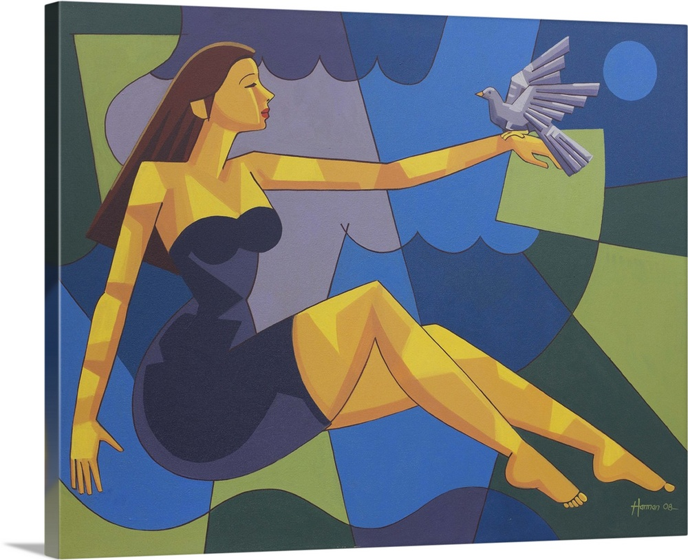 Large Solid-Faced Canvas Print Wall Art Print 45 x 36 entitled Fly, My Bird, Fly Solid-Faced Canvas Print entitled Fly, My Bird, Fly.  She sits amid blue shadows in a garden beside the sea. To her delight, a white dove alights on her outstretched hand. Harman works in bright color closures in this compelling painting, giving it a dreamlike air. I worry about the world and all the chaos happening every day, he confides. I identify with the woman who encourages the bird to fly. Its as though its freedom is a symbol of peace in a world with no war..  Multiple sizes available.  Primary colors within this image include Dark Yellow, Silver, Dark Forest Green, Royal Blue.  Made in USA.  All products come with a 365 day workmanship guarantee.  Archival-quality UV-resistant inks.  Featuring a proprietary design, our canvases produce the tightest corners without any bubbles, ripples, or bumps and will not warp or sag over time.  Canvas is handcrafted and made-to-order in the United States using high quality artist-grade canvas.