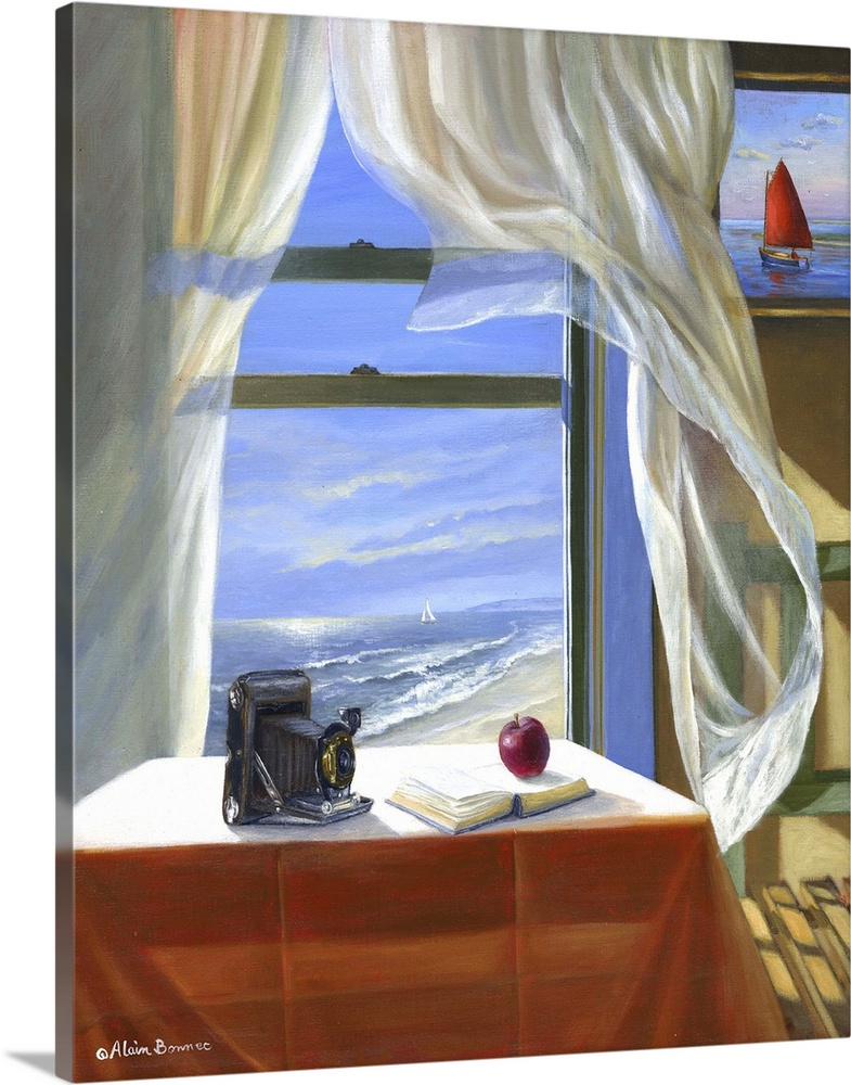 Large Solid-Faced Canvas Print Wall Art Print 24 x 30 entitled The South Wind Solid-Faced Canvas Print entitled The South Wind.  Contemporary still life painting of a camera and book on a table, and wispy clouds visible through the window.  Multiple sizes available.  Primary colors within this image include Brown, Sky Blue, Gray, White.  Made in USA.  Satisfaction guaranteed.  Archival-quality UV-resistant inks.  Archival inks prevent fading and preserve as much fine detail as possible with no over-saturation or color shifting.  Canvas depth is 1.25 and includes a finished backing with pre-installed hanging hardware.