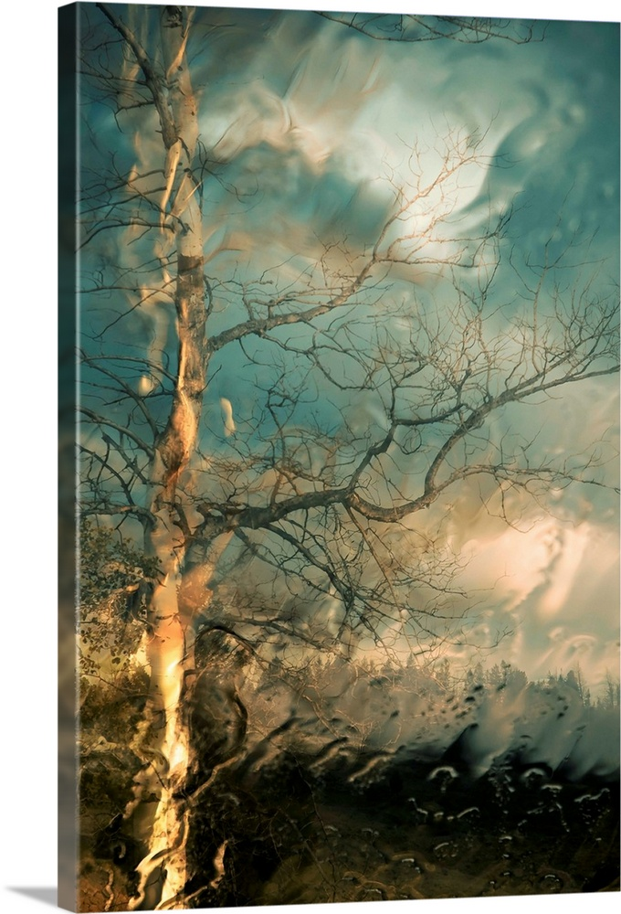 Large Solid-Faced Canvas Print Wall Art Print 20 x 30 entitled Time to Say Goodbye Solid-Faced Canvas Print entitled Time to Say Goodbye.  Vertical, large wall picture of a big tree with bare branches on a hill below a sky of swirling, stormy clouds.  The entire image has a rippled appearance and looks as though it is just below the surface of water.  Multiple sizes available.  Primary colors within this image include Brown, Black, Gray, Silver.  Made in USA.  All products come with a 365 day workmanship guarantee.  Inks used are latex-based and designed to last.  Canvas depth is 1.25 and includes a finished backing with pre-installed hanging hardware.  Archival inks prevent fading and preserve as much fine detail as possible with no over-saturation or color shifting.