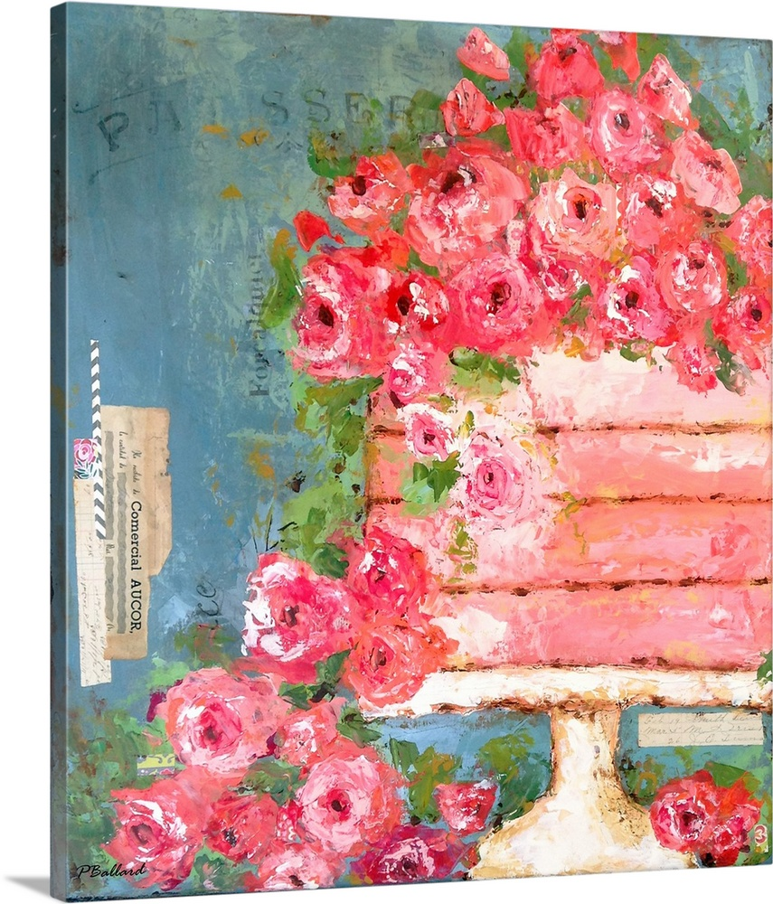 Large Gallery-Wrapped Canvas Wall Art Print 18 x 20 entitled I'm Just a Dreamer Gallery-Wrapped Canvas entitled Im Just a Dreamer.  A pink wedding cake covered in pink flowers.  Multiple sizes available.  Primary colors within this image include Pink Gray Blue Dark Navy Blue.  Made in the USA.  Satisfaction guaranteed.  Archival-quality UV-resistant inks.  Canvases have a UVB protection built in to protect against fading and moisture and are designed to last for over 100 years.  Canvases are stretched across a 1.5 inch thick wooden frame with easy-to-mount hanging hardware.