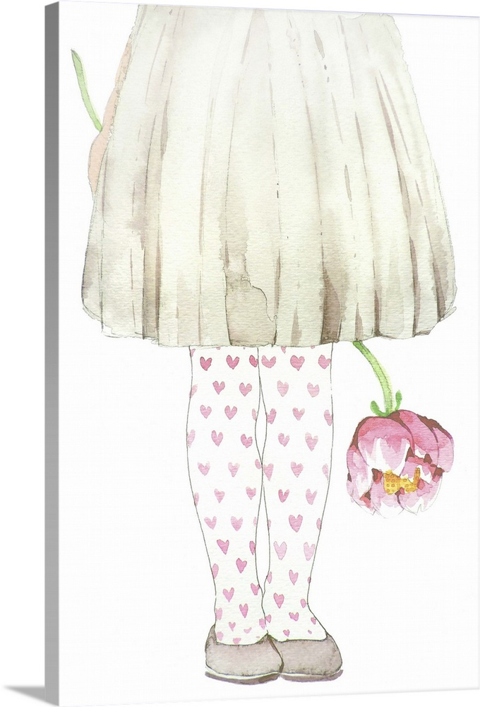Large Gallery-Wrapped Canvas Wall Art Print 16 x 24 entitled Little Lady in Gray and Pink Gallery-Wrapped Canvas entitled Little Lady in Gray and Pink.  Watercolor painting of a young girl wearing a grey skirt and heart tights.  Multiple sizes available.  Primary colors within this image include Pink Peach Black White.  Made in USA.  All products come with a 365 day workmanship guarantee.  Inks used are latex-based and designed to last.  Canvas is acid-free and 20 millimeters thick.  Canvas is a 65 polyester 35 cotton base with two acrylic latex primer basecoats and a semi-gloss inkjet receptive topcoat.