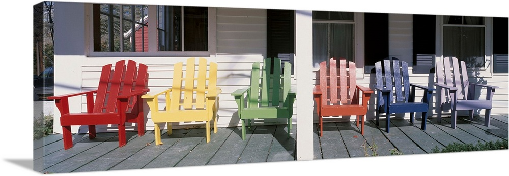 Large Solid-Faced Canvas Print Wall Art Print 48 x 16 entitled  Adirondack Chairs Porch Plymouth VT Solid-Faced Canvas Print entitled  Adirondack Chairs Porch Plymouth VT.  Multiple sizes available.  Primary colors within this image include Dark Red, Black, Gray, White.  Made in the USA.  Satisfaction guaranteed.  Inks used are latex-based and designed to last.  Canvas is handcrafted and made-to-order in the United States using high quality artist-grade canvas.  Archival inks prevent fading and preserve as much fine detail as possible with no over-saturation or color shifting.