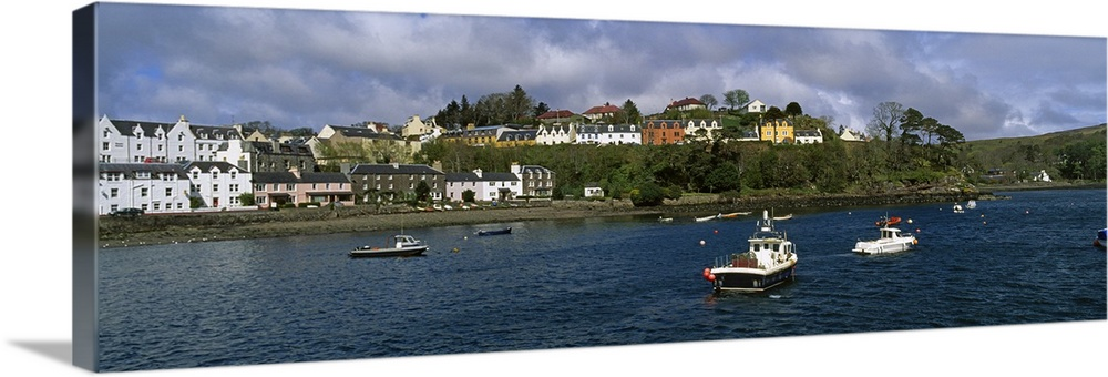 Solid-Faced Canvas Print Wall Art entitled Buildings on the waterfront, Portree,