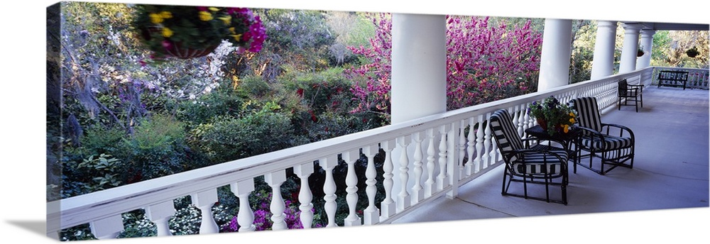 Large Solid-Faced Canvas Print Wall Art Print 48 x 16 entitled Chairs on a porch, Magnolia Plantation and Gardens, Charles... Solid-Faced Canvas Print entitled Chairs on a porch, Magnolia Plantation and Gardens, Charleston, South Carolina.  Multiple sizes available.  Primary colors within this image include Dark Yellow, Plum, White, Gray Blue.  Made in the USA.  Satisfaction guaranteed.  Archival-quality UV-resistant inks.  Canvas is handcrafted and made-to-order in the United States using high quality artist-grade canvas.  Featuring a proprietary design, our canvases produce the tightest corners without any bubbles, ripples, or bumps and will not warp or sag over time.