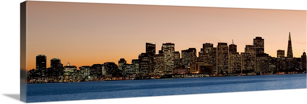 Solid-Faced Canvas Print Wall Art entitled City at dusk San Francisco California