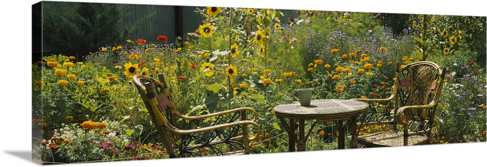 Large Solid-Faced Canvas Print Wall Art Print 48 x 16 entitled Empty chairs and a table in a garden, Taos, New Mexico Solid-Faced Canvas Print entitled Empty chairs and a table in a garden, Taos, New Mexico.  Garden scene of two wicker chairs and a small outdoor table surrounded by several plants, including sunflowers and marigolds.  Multiple sizes available.  Primary colors within this image include Yellow, Brown, Dark Yellow, Dark Gray.  Made in USA.  All products come with a 365 day workmanship guarantee.  Inks used are latex-based and designed to last.  Featuring a proprietary design, our canvases produce the tightest corners without any bubbles, ripples, or bumps and will not warp or sag over time.  Canvas depth is 1.25 and includes a finished backing with pre-installed hanging hardware.