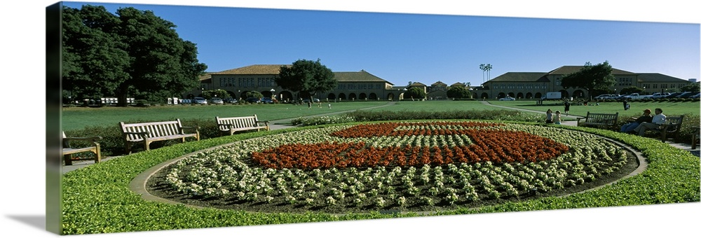 Large Solid-Faced Canvas Print Wall Art Print 48 x 16 entitled Formal garden at the university campus Stanford University ... Solid-Faced Canvas Print entitled Formal garden at the university campus Stanford University Stanford California.  Multiple sizes available.  Primary colors within this image include Forest Green, Sky Blue, Black, White.  Made in USA.  All products come with a 365 day workmanship guarantee.  Inks used are latex-based and designed to last.  Canvas depth is 1.25 and includes a finished backing with pre-installed hanging hardware.  Canvas is handcrafted and made-to-order in the United States using high quality artist-grade canvas.
