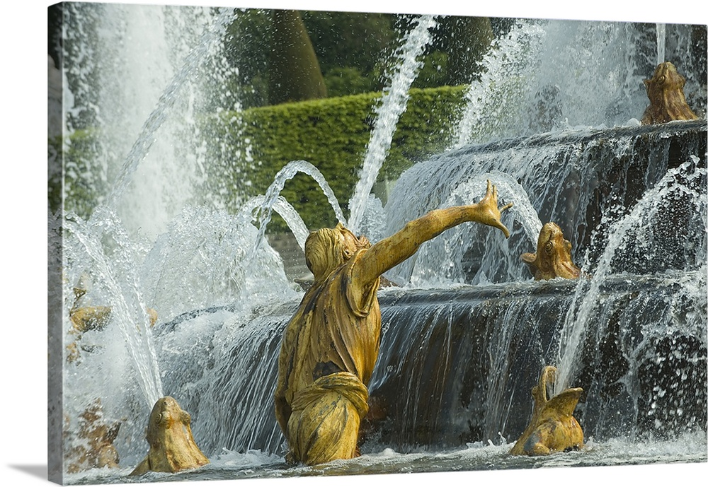 Large Solid-Faced Canvas Print Wall Art Print 30 x 20 entitled Fountain in a garden, Bassin De Latone, Versailles, Paris, ... Solid-Faced Canvas Print entitled Fountain in a garden, Bassin De Latone, Versailles, Paris, Ile de France, France.  Multiple sizes available.  Primary colors within this image include Light Yellow, Black, Silver, Dark Forest Green.  Made in the USA.  Satisfaction guaranteed.  Archival-quality UV-resistant inks.  Canvas is handcrafted and made-to-order in the United States using high quality artist-grade canvas.  Featuring a proprietary design, our canvases produce the tightest corners without any bubbles, ripples, or bumps and will not warp or sag over time.