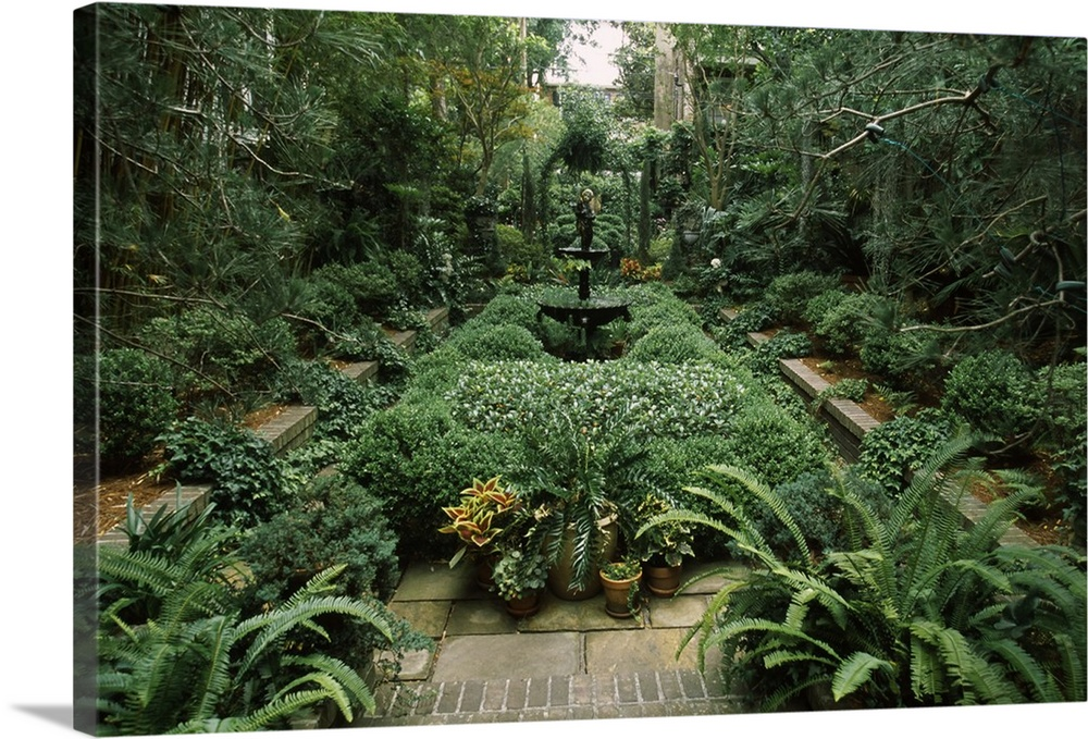 Large Solid-Faced Canvas Print Wall Art Print 30 x 20 entitled Fountain in a garden, Savannah, Chatham County, Georgia, Solid-Faced Canvas Print entitled Fountain in a garden, Savannah, Chatham County, Georgia,.  Multiple sizes available.  Primary colors within this image include Light Gray, White, Dark Forest Green.  Made in USA.  Satisfaction guaranteed.  Archival-quality UV-resistant inks.  Archival inks prevent fading and preserve as much fine detail as possible with no over-saturation or color shifting.  Canvas is handcrafted and made-to-order in the United States using high quality artist-grade canvas.