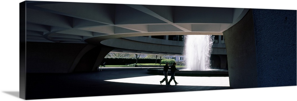 Large Solid-Faced Canvas Print Wall Art Print 48 x 16 entitled Fountain in a museum Hirshhorn Museum and Sculpture Garden ... Solid-Faced Canvas Print entitled Fountain in a museum Hirshhorn Museum and Sculpture Garden Smithsonian Institution Washington DC.  Multiple sizes available.  Primary colors within this image include Light Green, Black, Gray, White.  Made in the USA.  Satisfaction guaranteed.  Archival-quality UV-resistant inks.  Canvas depth is 1.25 and includes a finished backing with pre-installed hanging hardware.  Featuring a proprietary design, our canvases produce the tightest corners without any bubbles, ripples, or bumps and will not warp or sag over time.