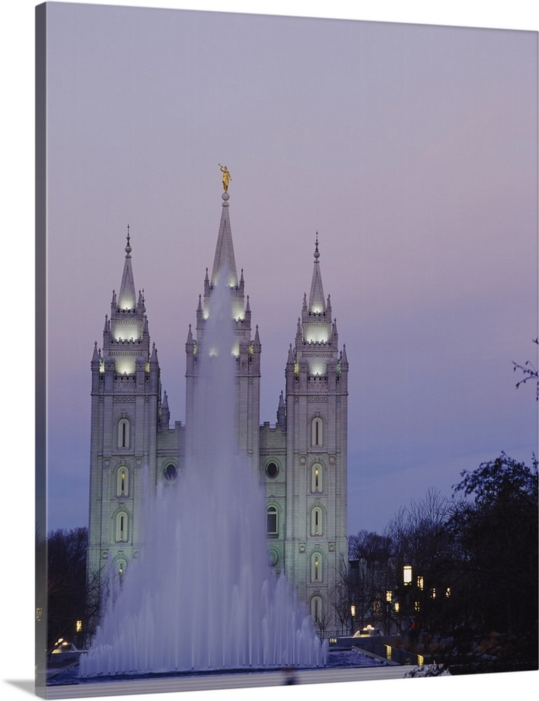 Solid-Faced Canvas Print Wall Art entitled Fountain in front of a temple, Mormon