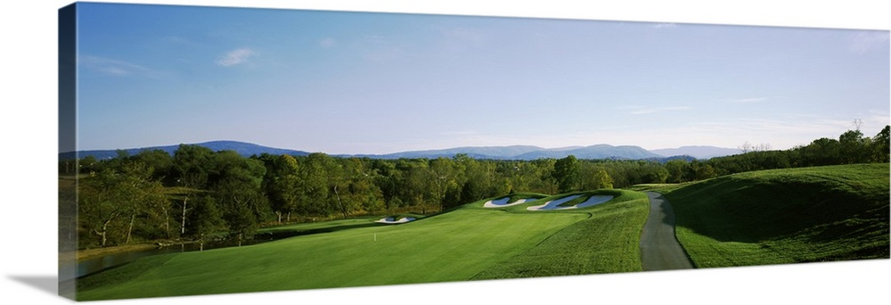 Large Solid-Faced Canvas Print Wall Art Print 48 x 16 entitled Golf course, Blue Ridge Shadows Golf Club, Front Royal, War... Solid-Faced Canvas Print entitled Golf course, Blue Ridge Shadows Golf Club, Front Royal, Warren County, Virginia.  Multiple sizes available.  Primary colors within this image include Dark Yellow, Dark Forest Green, Pale Blue.  Made in the USA.  Satisfaction guaranteed.  Inks used are latex-based and designed to last.  Canvas is handcrafted and made-to-order in the United States using high quality artist-grade canvas.  Featuring a proprietary design, our canvases produce the tightest corners without any bubbles, ripples, or bumps and will not warp or sag over time.