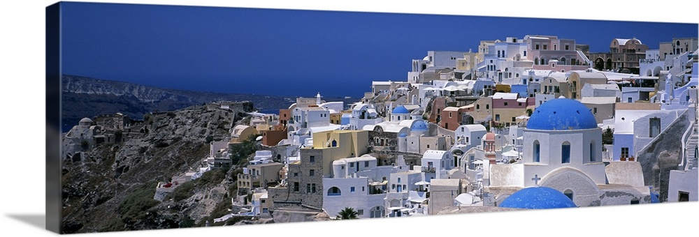 Solid-Faced Canvas Print Wall Art entitled High angle view of a town, Oia,