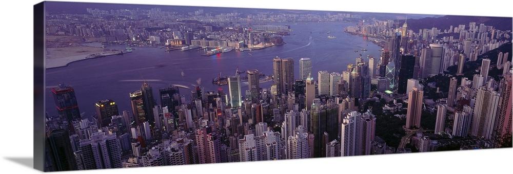 Solid-Faced Canvas Print Wall Art entitled Hong Kong, harbor