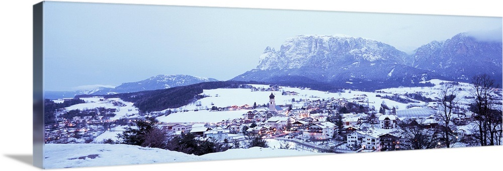 Solid-Faced Canvas Print Wall Art entitled , Fie, Italian Alps, High angle