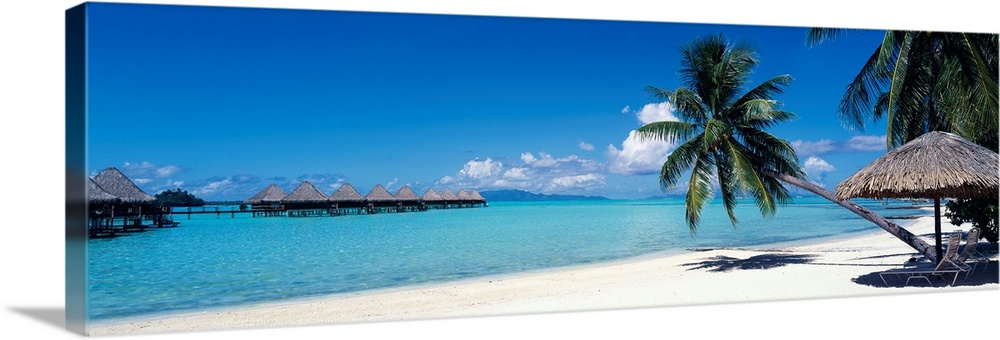 Large Solid-Faced Canvas Print Wall Art Print 48 x 16 entitled Lounge chair under a beach umbrella, Moana Beach, Bora Bora... Solid-Faced Canvas Print entitled Lounge chair under a beach umbrella, Moana Beach, Bora Bora, French Polynesia.  This wall art is a restful beach retreat with clear water and skies captured in a panoramic photograph for hanging in the home or office.  Multiple sizes available.  Primary colors within this image include Black, White, Royal Blue, Teal.  Made in the USA.  All products come with a 365 day workmanship guarantee.  Archival-quality UV-resistant inks.  Canvas is handcrafted and made-to-order in the United States using high quality artist-grade canvas.  Canvas depth is 1.25 and includes a finished backing with pre-installed hanging hardware.