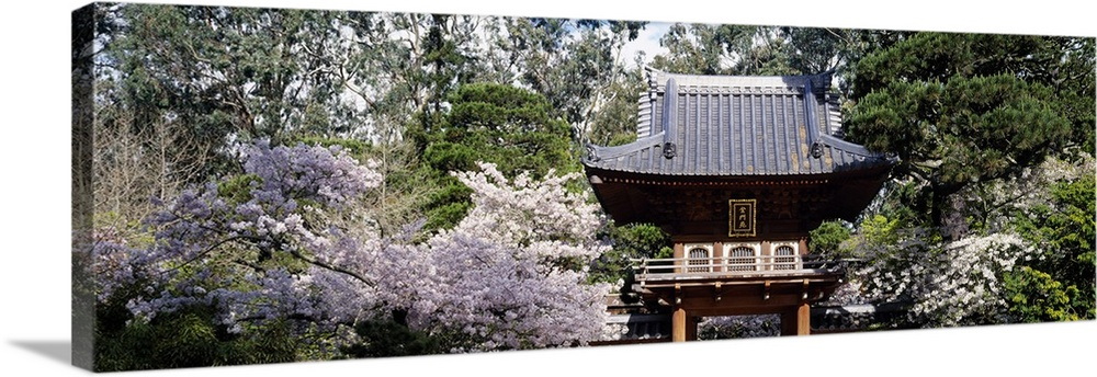 Large Solid-Faced Canvas Print Wall Art Print 48 x 16 entitled Low angle view of entrance of a park, Japanese Tea Garden, ... Solid-Faced Canvas Print entitled Low angle view of entrance of a park, Japanese Tea Garden, Golden Gate Park, San Francisco, California.  Multiple sizes available.  Primary colors within this image include Dark Yellow, Black, Light Gray, White.  Made in the USA.  All products come with a 365 day workmanship guarantee.  Archival-quality UV-resistant inks.  Canvas depth is 1.25 and includes a finished backing with pre-installed hanging hardware.  Archival inks prevent fading and preserve as much fine detail as possible with no over-saturation or color shifting.
