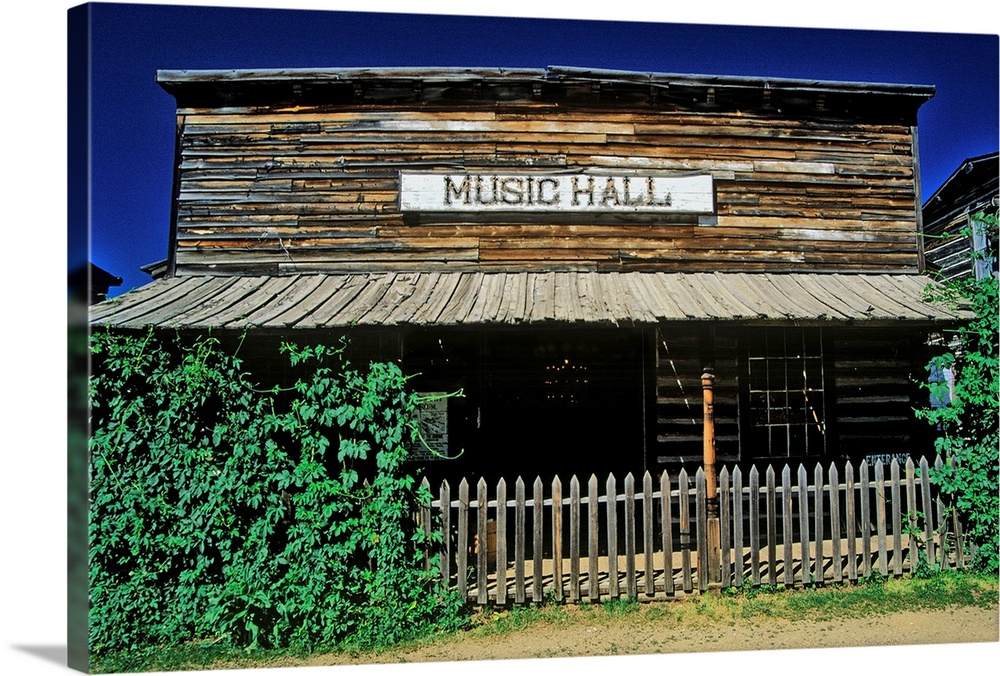 Solid-Faced Canvas Print Wall Art entitled Old Music Hall in Ghost Town near