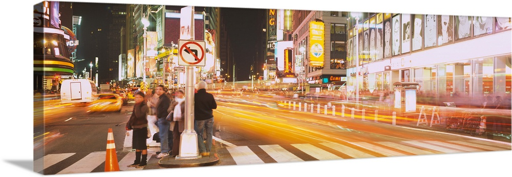 Large Solid-Faced Canvas Print Wall Art Print 48 x 16 entitled Pedestrians waiting for crossing road, Times Square, Manhat... Solid-Faced Canvas Print entitled Pedestrians waiting for crossing road, Times Square, Manhattan, New York City, New York State.  Multiple sizes available.  Primary colors within this image include Orange, Peach, White.  Made in USA.  All products come with a 365 day workmanship guarantee.  Archival-quality UV-resistant inks.  Canvas is handcrafted and made-to-order in the United States using high quality artist-grade canvas.  Archival inks prevent fading and preserve as much fine detail as possible with no over-saturation or color shifting.